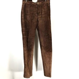 margaret godfrey brown leather pants size 4